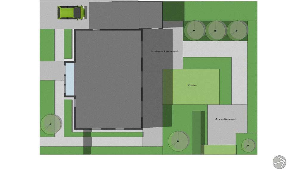 plattegrond van minimalistische tuin