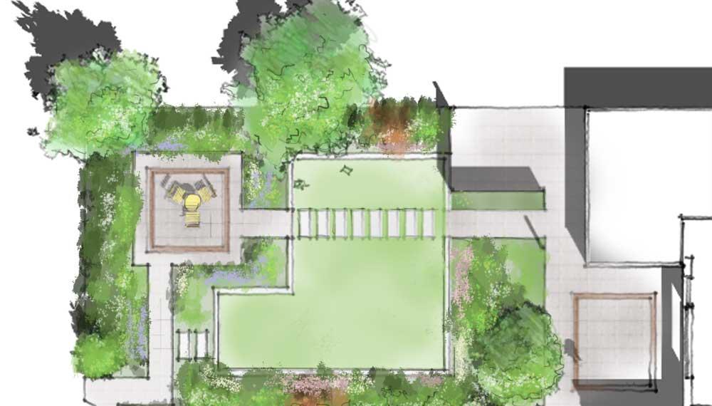 plattegrond van kleine tuin met staptegels in het gazon