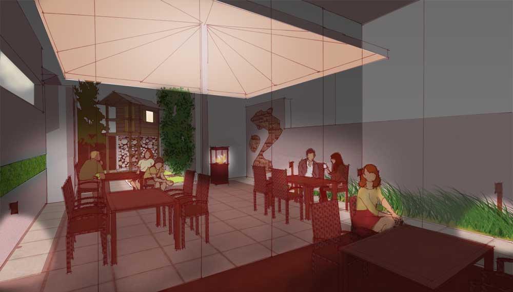 nieuwe versie restauranttuin met wintertuin en speelhuis bij avond