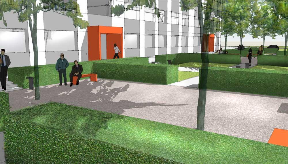 door de hagen in deze tuin bij het kantoorgebouw ontstaan groene ruimten