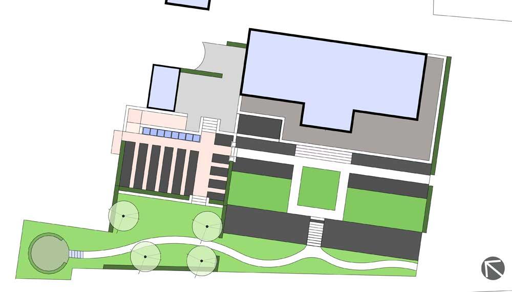 plattegrond van een landgoed met een groente- en fruittuin