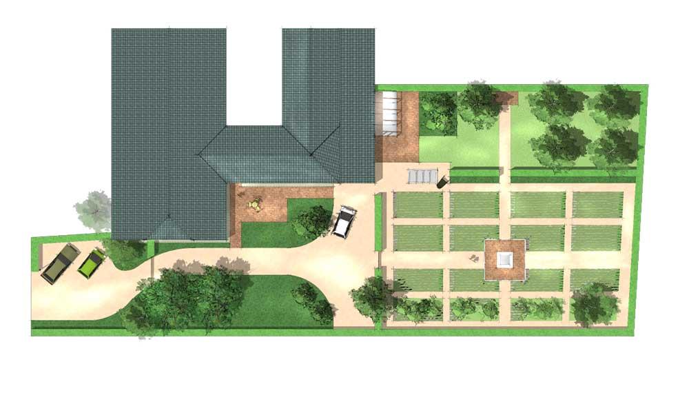 plattegrond van een groente en fruittuin