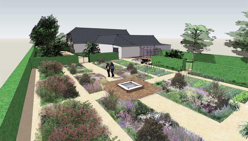 impressie van een groente- en fruittuin met een centraal gelegen vijver
