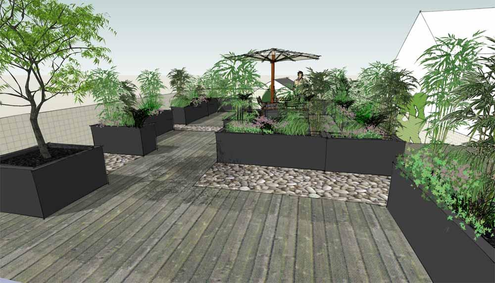 daktuin met houten terras, pebble stones en plantcontainers