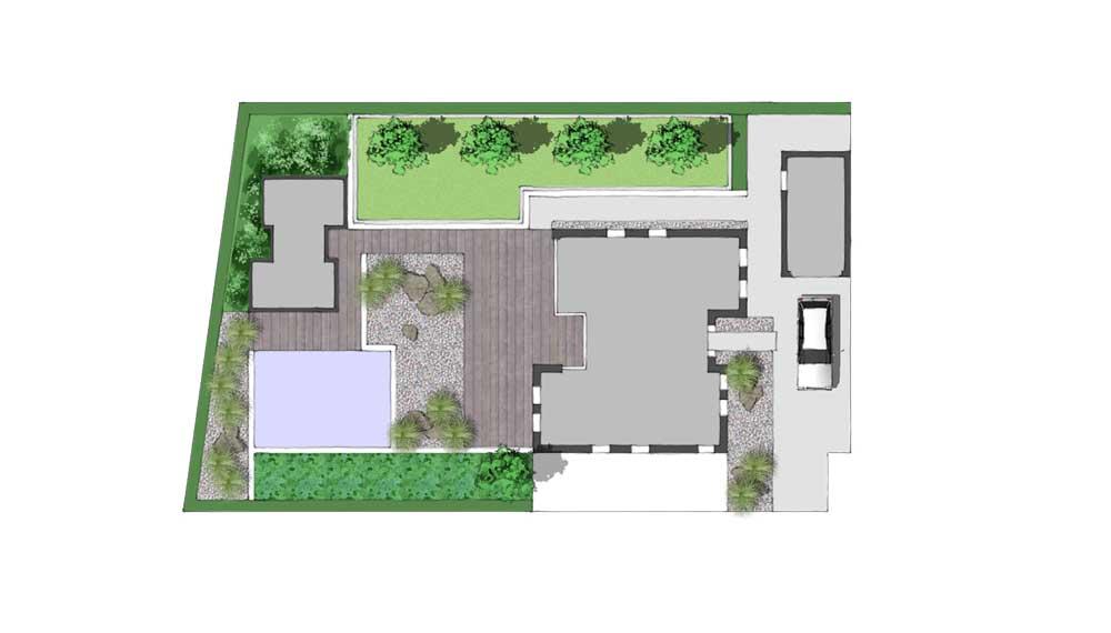 Ontwerp van een strakke moderne tuin bij een huis met een